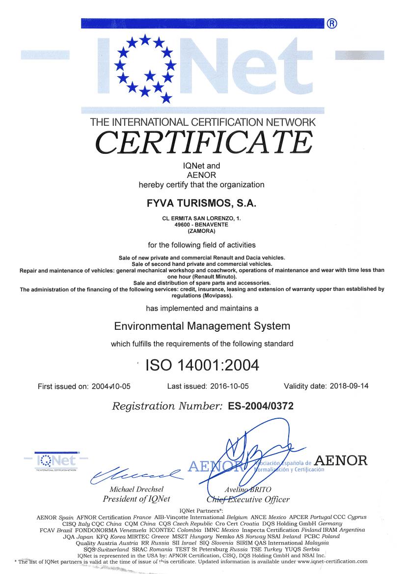 CERTIFICADO ISO14001:2004